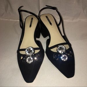 Zara Black & Embellished Stones Heels Size 8 📚